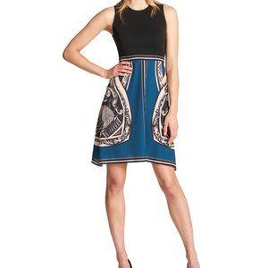 DKNY teal leopard sleeveless a-line stretch dress